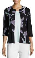 Misook Graphic Petal 3/4-Sleeve Jacket, Plus Size