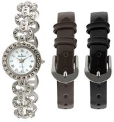 Peugeot Women's 662 Silver-Tone and Marcasite Watch with Interchangeable Bands