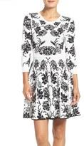 Eliza J Reversible Jacquard Sweater Fit & Flare Dress