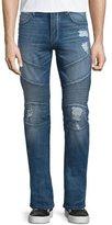 True Religion Rocco Ripped & Worn Moto Jeans, Worn Flagstone