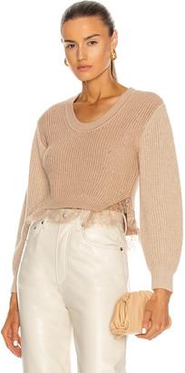 Self-Portrait Contrast Lace Trimmed Sweater in Camel   FWRD