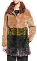 Escada Colorblock Shearling Coat, Caramel