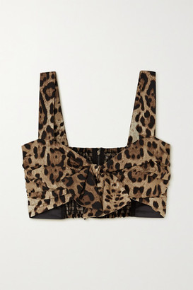 Dolce & Gabbana Knotted Leopard-print Cotton Bustier Top - Leopard print