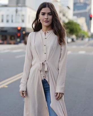 The Drop Women's Beige Oversized Long Button Down Shirt by @paolaalberdi XS