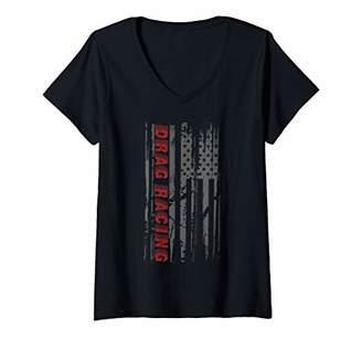 Womens Drag Race Vintage Patriotic American Flag Drag Racing V-Neck T-Shirt