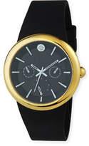Philip Stein Teslar 43mm Chronograph Watch w/ Rubber Strap, Black/Gold