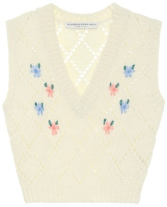 Alessandra Rich Embroidered alpaca-blend vest