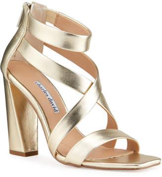 Charles David Vanguard Metallic Cocktail Heel Sandals