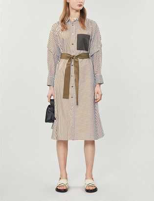 Maje Striped cotton midi dress