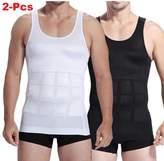 Top1(TM) 2-Pcs Mens Slim Body Shaper Compression Elastic Undershirt, Tank Vest Shapewear, Abs Abdomen Slim Compression (S to XXL white + black) + 1 RFID Blocking Credit Card Sleeve (L)