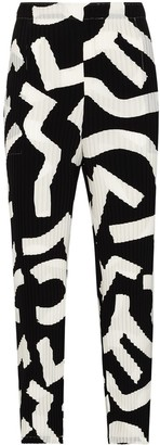 Issey Miyake Patterned Plisse Cropped Trousers