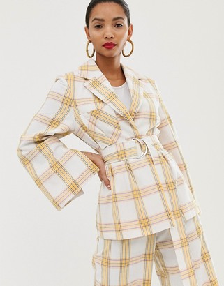 ASOS belted suit jacket in check print