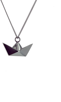 Origami Jewellery Mini Boat Gun Metal