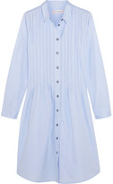 Chinti and Parker Pleated Cotton-poplin Dress - Light blue