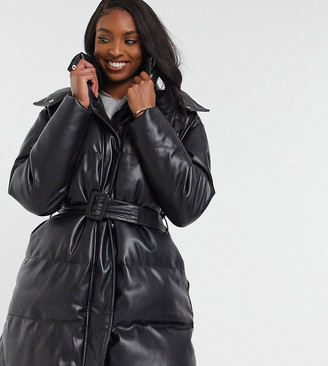 Asos Tall ASOS DESIGN Tall leather look belted puffer jacket in black