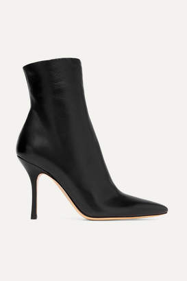 The Row Gloria Leather Ankle Boots - Black