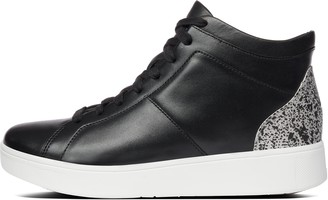 FitFlop Rally Glitter Leather High-Top Sneakers
