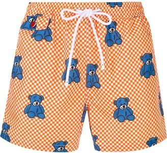 Kiton Bear Print Checkered Swim Shorts