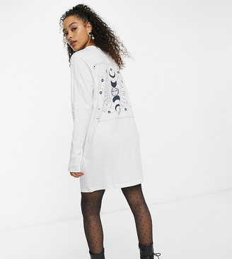 Noisy May exclusive oversized mini t-shirt dress with cosmic motif in white