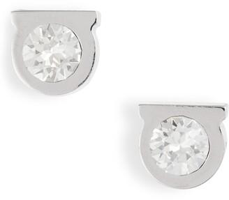Salvatore Ferragamo Crystal Gancio Stud Earrings