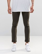 Asos 5 Pocket Super Skinny Pants In Green Washed Effect