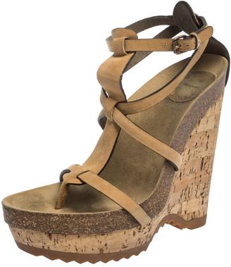 Stella McCartney Tan Faux Nubuck Demetra Cork Wedge Sandals Size 36.5