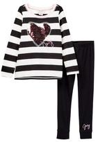 Juicy Couture Sequin Heart Applique Wide Stripe Tunic & Legging Set (Little Girls)