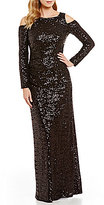 Vince Camuto Cold-Shoulder Long Sleeve Sequin Gown