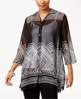 JM Collection Printed Sheer Blouse, Created for Macy's