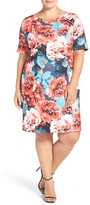 Tahari Floral Print Short Sleeve Sheath Dress (Plus Size)