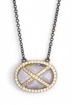 Freida Rothman 'Double Helix' Pavé Cubic Zirconia Pendant Necklace