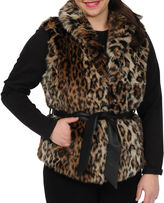 JCPenney Excelled Leather Excelled Faux-Fur Belted Vest
