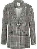 River Island Girls black check frill pocket blazer