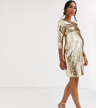 TFNC Maternity Maternity sequin mini bodycon dress in liquid gold