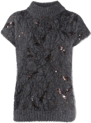 Brunello Cucinelli Sequin-Embellished Short-Sleeve Jumper