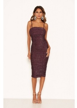 AX Paris Women's Ruched Sparkle Midi Dress