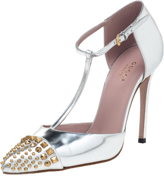 Gucci Silver Leather Studded Coline T Strap Pumps Size 36.5