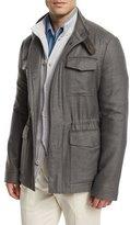 Loro Piana Traveler Shadow-Plaid Cashmere Field Jacket, Gray