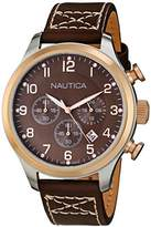Nautica Men's N17648G BFD 101 Classic Brown Leather Chronograph Watch