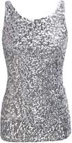 PrettyGuide Women Shimmer Glam Sequin Embellished Sparkle Tank Top Vest Tops US S/Asian M