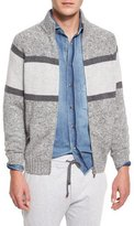 Brunello Cucinelli Colorblock Donegal Front-Zip Cardigan, Gray