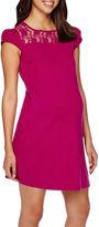 Asstd National Brand Maternity Cap-Sleeve Crochet-Yoke Dress-Plus