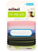 Scunci No-slip Grip Evolution Bright Jelly Ponytailers, 14 Count, Colors May Vary