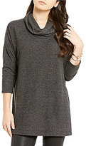 Bobeau Long Sleeve Cowl-Neck Solid Shirt