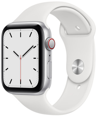 Apple Watch SE GPS + Cellular, 44mm Silver Aluminum Case with White Sport Band - Regular