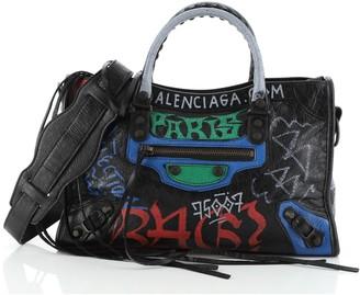 Balenciaga City Graffiti Classic Studs Bag Leather Small