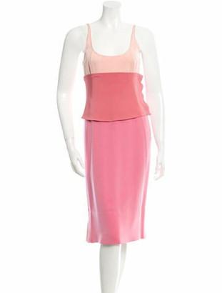 Narciso Rodriguez Sleeveless Silk Paneled Dress w/ Tags pink