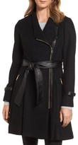 GUESS Women's Belted Boiled Wool Blend Coat