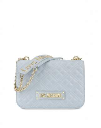 Love Moschino Quilted Shoulder Bag With Logo Woman Blue Size U It - (one Size Us)