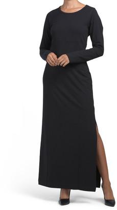 Thumbhole Cuff Vent Back Maxi Dress